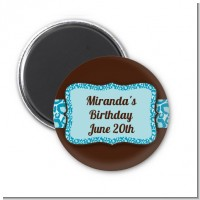 Cheetah Print Blue - Personalized Birthday Party Magnet Favors