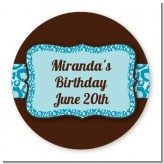 Cheetah Print Blue - Round Personalized Birthday Party Sticker Labels