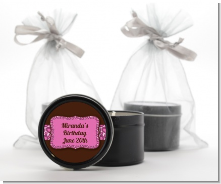 Cheetah Print Pink - Birthday Party Black Candle Tin Favors