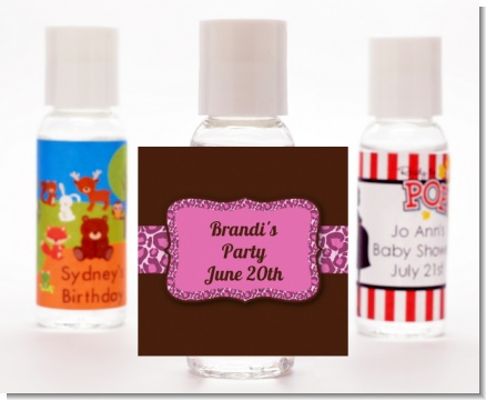 Cheetah Print Pink - Personalized Birthday Party Hand Sanitizers Favors