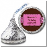 Cheetah Print Pink - Hershey Kiss Birthday Party Sticker Labels