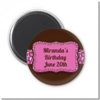 Cheetah Print Pink - Personalized Birthday Party Magnet Favors