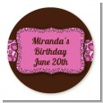 Cheetah Print Pink - Round Personalized Birthday Party Sticker Labels thumbnail