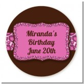 Cheetah Print Pink - Round Personalized Birthday Party Sticker Labels