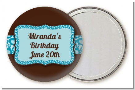Cheetah Print Blue - Personalized Birthday Party Pocket Mirror Favors