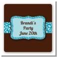 Cheetah Print Blue - Square Personalized Birthday Party Sticker Labels thumbnail