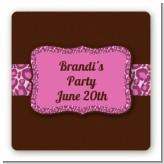 Cheetah Print Pink - Square Personalized Birthday Party Sticker Labels