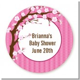 Cherry Blossom - Round Personalized Baby Shower Sticker Labels