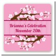 Cherry Blossom - Square Personalized Bridal Shower Sticker Labels thumbnail