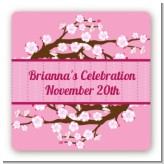 Cherry Blossom - Square Personalized Bridal Shower Sticker Labels
