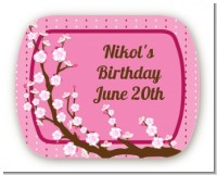 Cherry Blossom - Personalized Birthday Party Rounded Corner Stickers