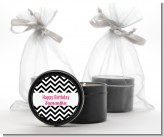 Chevron Black & White - Birthday Party Black Candle Tin Favors