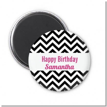Chevron Black & White - Personalized Birthday Party Magnet Favors