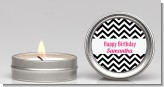 Chevron Black & White - Birthday Party Candle Favors
