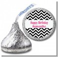 Chevron Black & White - Hershey Kiss Birthday Party Sticker Labels thumbnail