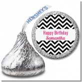 Chevron Black & White - Hershey Kiss Birthday Party Sticker Labels