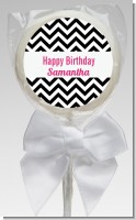 Chevron Black & White - Personalized Birthday Party Lollipop Favors