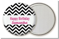 Chevron Black & White - Personalized Birthday Party Pocket Mirror Favors