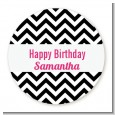 Chevron Black & White - Round Personalized Birthday Party Sticker Labels thumbnail