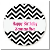 Chevron Black & White - Round Personalized Birthday Party Sticker Labels