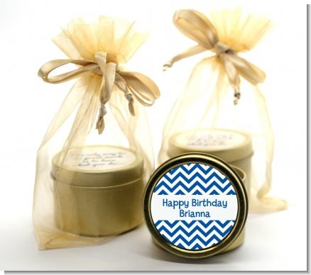 Chevron Blue - Birthday Party Gold Tin Candle Favors