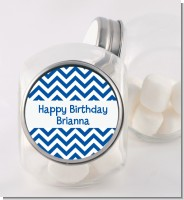 Chevron Blue - Personalized Birthday Party Candy Jar
