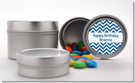 Chevron Blue - Custom Birthday Party Favor Tins