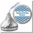 Chevron Blue - Hershey Kiss Birthday Party Sticker Labels thumbnail