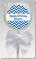 Chevron Blue - Personalized Birthday Party Lollipop Favors