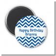 Chevron Blue - Personalized Birthday Party Magnet Favors thumbnail