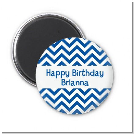 Chevron Blue - Personalized Birthday Party Magnet Favors