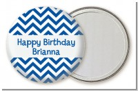 Chevron Blue - Personalized Birthday Party Pocket Mirror Favors
