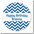 Chevron Blue - Round Personalized Birthday Party Sticker Labels thumbnail