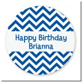 Chevron Blue - Round Personalized Birthday Party Sticker Labels