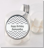 Chevron Gray - Personalized Birthday Party Candy Jar