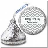 Chevron Gray - Hershey Kiss Birthday Party Sticker Labels