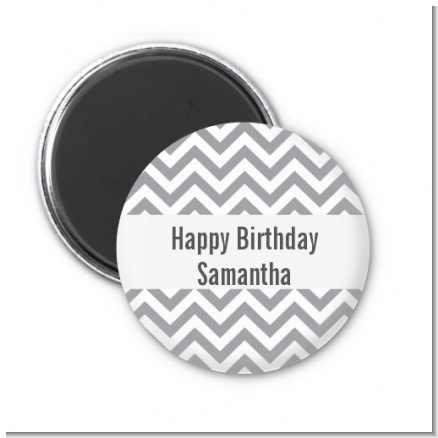 Chevron Gray - Personalized Birthday Party Magnet Favors