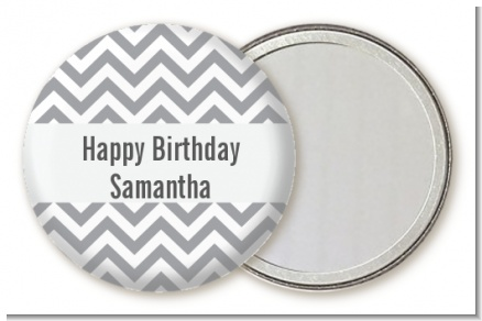 Chevron Gray - Personalized Birthday Party Pocket Mirror Favors