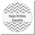 Chevron Gray - Round Personalized Birthday Party Sticker Labels thumbnail