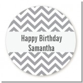 Chevron Gray - Round Personalized Birthday Party Sticker Labels