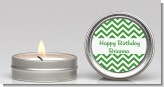 Chevron Green - Birthday Party Candle Favors