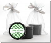 Chevron Green - Birthday Party Black Candle Tin Favors