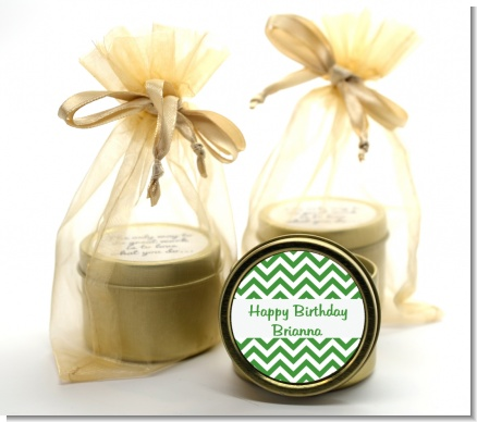 Chevron Green - Birthday Party Gold Tin Candle Favors