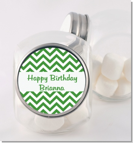 Chevron Green - Personalized Birthday Party Candy Jar