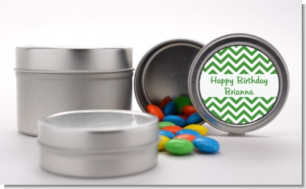 Chevron Green - Custom Birthday Party Favor Tins