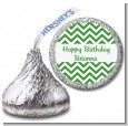 Chevron Green - Hershey Kiss Birthday Party Sticker Labels thumbnail