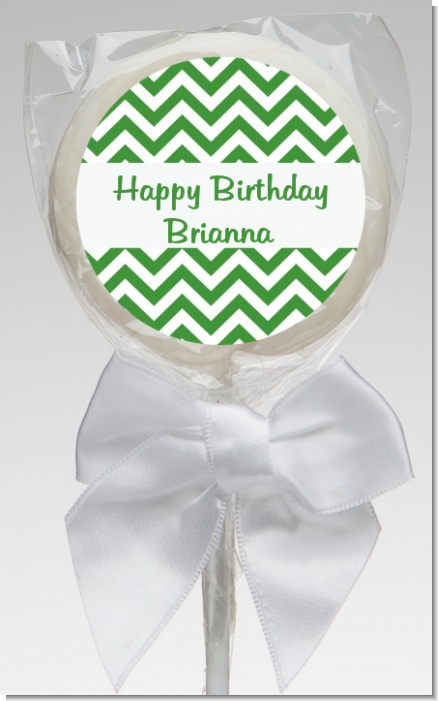 Chevron Green - Personalized Birthday Party Lollipop Favors