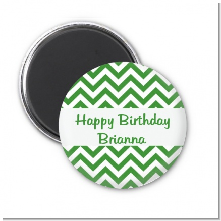 Chevron Green - Personalized Birthday Party Magnet Favors