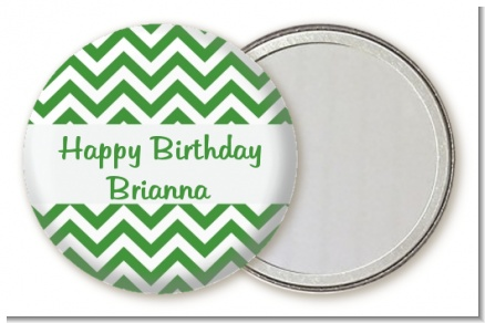 Chevron Green - Personalized Birthday Party Pocket Mirror Favors