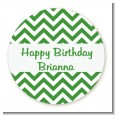 Chevron Green - Round Personalized Birthday Party Sticker Labels thumbnail
